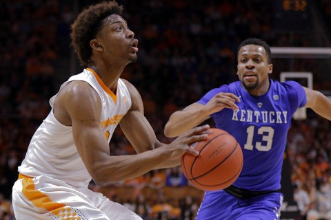 Tennessee Volunteers guard Robert Hubbs III (3) moves the ball against Kentucky Wildcats guard Isaiah Briscoe (13) during the first half at Thompson-Boling Arena. (Randy Sartin-USA TODAY Sports)