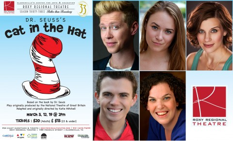 """The Cat in the Hat"" at the Roxy Regional Theatre stars (Top L to R) Michael C. Brown stars as The Cat in the Hat, Emily Rourke, Lacey Connell, Ryan Bowie and Jackie Ostick."