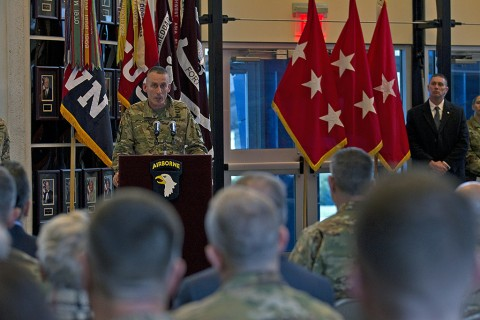 Maj. Gen. Gary J. Volesky, commanding general, 101st Airborne Division (Air Assault), speaks to Soldiers and local community members during the division's color casing ceremony at Fort Campbell, KY, Feb. 25, 2016. (Sgt. William White, 101st Airborne Division Public Affairs)