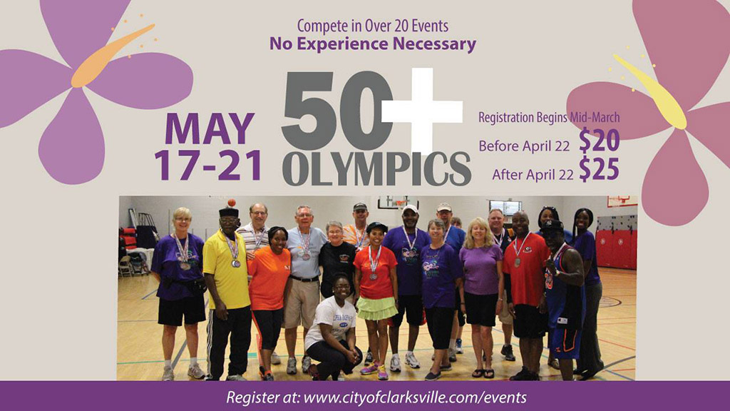 Clarksville Park and Recreation's 50+ Olympics registration going on now through May 6th.