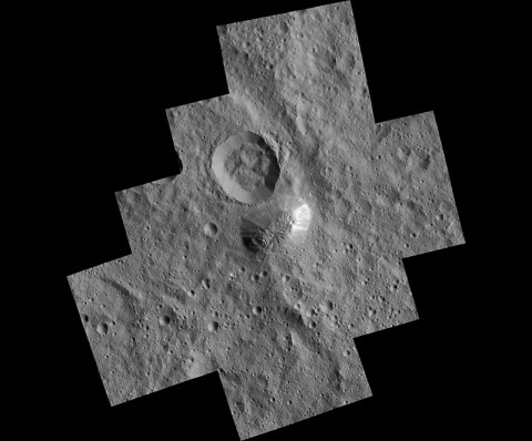 The mysterious mountain Ahuna Mons is seen in this mosaic of images from NASA's Dawn spacecraft. Dawn took these images from its lowest-altitude orbit. (NASA/JPL-Caltech/UCLA/MPS/DLR/IDA)
