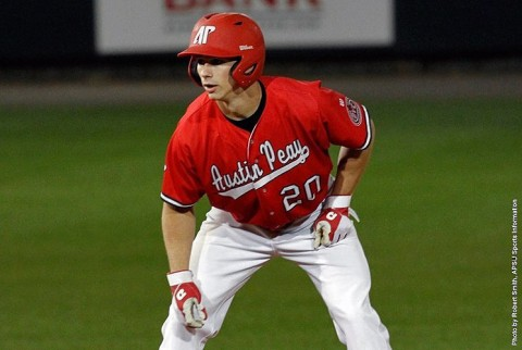 Austin Peay Baseball's Kyle Blackburn smacks four hits and pushes four across the plate in 15-11 win over Murray State Saturday. (APSU Sports Information)