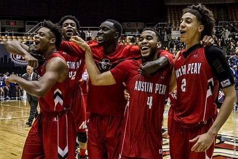 Austin Peay Men's Basketball upsets Tennessee State Thursday night to advance to OVC Tournament semifinals. (APSU Sports Information)