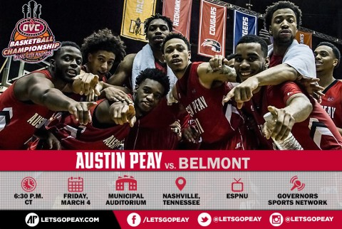Austin Peay Men's Basketball takes on Belmont tonight in OVC Tournament semifinals. (APSU Sports Information)