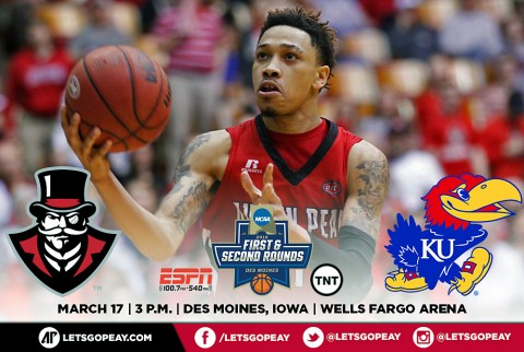 Austin Peay Men's Basketball heads to DesMoines Thursday to face No. 1 Kansas in First Round of NCAA Tournament. (APSU Sports Information)
