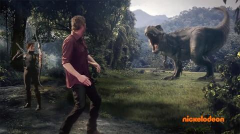 T-Rex dinosaur chasing Nickelodeon's Kids Choice Awards host Blake Shelton. T-Rex was animated by APSU professor Scott Raymond.