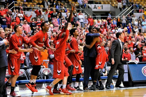 Austin Peay Governors bench celebrates defeating the Tennessee-Martin Skyhawks during the second half of the Ohio Valley Conference tournament championship game at Municipal Auditorium. Austin Peay won 83-73. (Jim Brown-USA TODAY Sports)