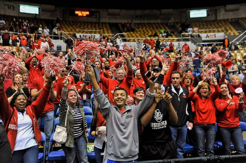 Austin Peay Governors fans cheer celebrating their teams victory following the Ohio Valley Conference tournament championship game against the Tennessee-Martin Skyhawks at Municipal Auditorium. Austin Peay won 83-73. (Jim Brown-USA TODAY Sports)