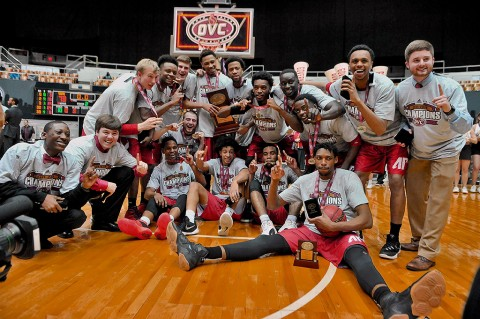 Austin Peay Governors pose for a group photo following the Ohio Valley Conference tournament championship game against the Tennessee-Martin Skyhawks at Municipal Auditorium. Austin Peay won 83-73. (Jim Brown-USA TODAY Sports)