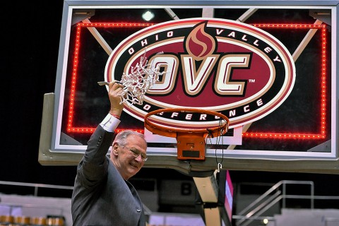 Austin Peay Governors head coach Dave Loos cuts down the net following the championship game of the Ohio Valley Conference tournament against the Tennessee-Martin Skyhawks at Municipal Auditorium. Austin Peay won 83-73. (Jim Brown-USA TODAY Sports)