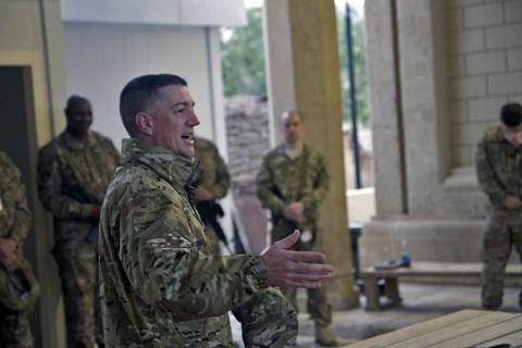 Capt. Christopher S. Davis, chaplain for Headquarters and Headquarters Battalion, 101st Airborne Division (Air Assault), gives the sermon at an Easter sunrise service in Baghdad, Iraq, March 27, 2016. (U.S. Army photo by Sgt. Katie Eggers)