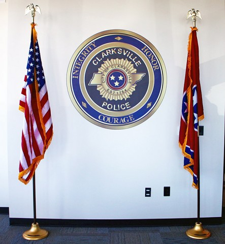 American Flag and the Tennessee State Flag donated to the Clarksville Police Department by the Citizens Police Academy Alumni.