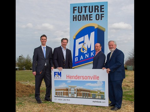 From left: F&M's Brad Edwards, Vice president and Branch Manager; Brian Maggart, Vice President and Manager of F&M's Mortgage Office; Hendersonville Mayor, Scott Foster and Sammy Stuard, F&M President and CEO are pictured during recent groundbreaking event for the bank's new 3,000 square foot Hendersonville office located at 221 Indian Lake Blvd.