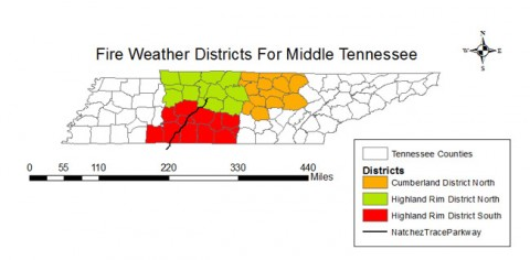 Fire Weather Districts for Middle Tennessee