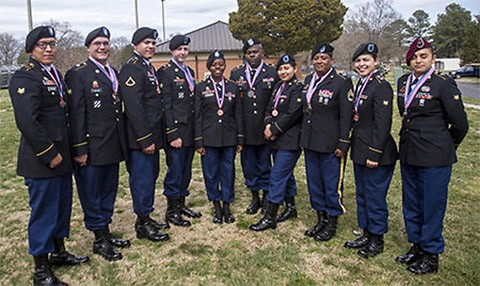 Soldiers from the Fort Campbell culinary team are all smiles after competing in the 41st Military Culinary Arts Competitive Training Event at Fort Lee, Virginia, March 3-Friday. The Fort Campbell team placed fourth in this year's competition. (Staff Sgt. Terrance D. Rhodes, 2nd Brigade Combat Team, 101st Airborne Division (Air Assault) Public Affairs)