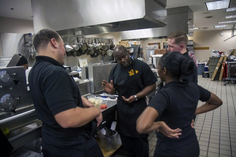 Spc. Stephen Briscoe, a team leader on the Fort Campbell Culinary Team, goes over cuts with his team at the culinary lab at the education center on Fort Campbell, Ky., Feb. 25, 2016. The Fort Campbell Culinary Team will compete in the 41st Military Culinary Arts Competitive Training Event at Fort Lee, Va., March 3-11. (Staff Sgt. Terrance D. Rhodes, 2nd Brigade Combat Team, 101st Airborne Division (Air Assault) Public Affairs)