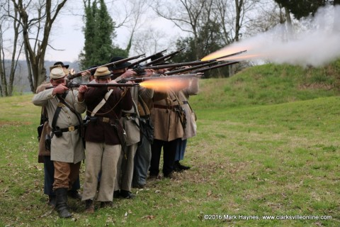 The 5th Tennessee demonstrating musket firing at Fort Defiance Interpretive Center.
