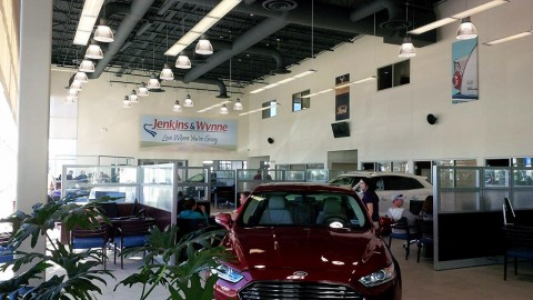 There is 65,000 square feet square of combined space in the Ford-Lincoln showroom.