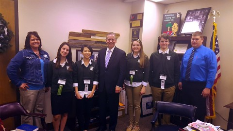 Representative Joe Pitts welcomes members of the Montgomery County 4-H Congress to the State Capitol on Monday, March 21st. (L to R) Julie Newberry, Cheyenne Deibert, Tabitha Lee, State Rep. Joe Pitts, Dani Wright, Hunter Kueter, and Trevor Beard. All of the students are from Clarksville Academy