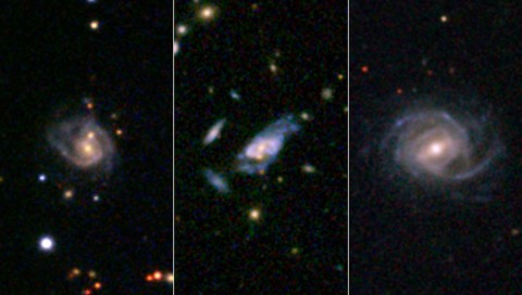 "In archived NASA data, researchers have discovered ""super spiral"" galaxies that dwarf our own spiral galaxy, the Milky Way, and compete in size and brightness with the largest galaxies in the universe. (SDSS)"