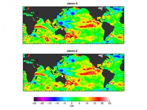 The U.S./European Jason-3 satellite has produced its first map of sea surface height, which corresponds well to data from its predecessor, Jason-2. Higher-than-normal sea levels are red; lower-than-normal sea levels are blue. El Nino is visible as the red blob in the eastern equatorial Pacific. (NASA/JPL Ocean Surface Topography Team)