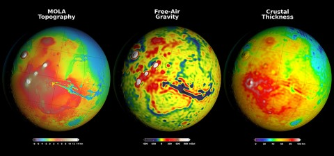 Newly detailed mapping of local variations in Mars' gravitational pull on orbiters (center), combined with topographical mapping of the planet's mountains and valleys (left), yields the best-yet mapping of Mars' crustal thickness (right). (NASA/GSFC/Scientific Visualization Studio)