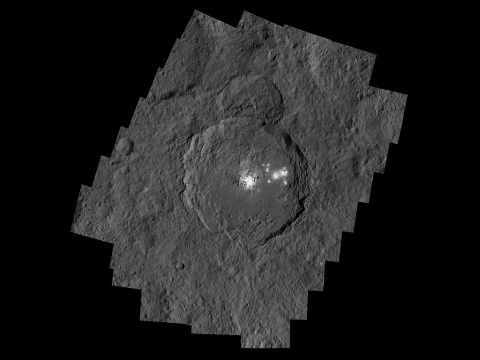 Occator Crater, measuring 57 miles (92 kilometers) across and 2.5 miles (4 kilometers) deep, contains the brightest area on Ceres. (NASA/JPL-Caltech/UCLA/MPS/DLR/IDA/PSI)