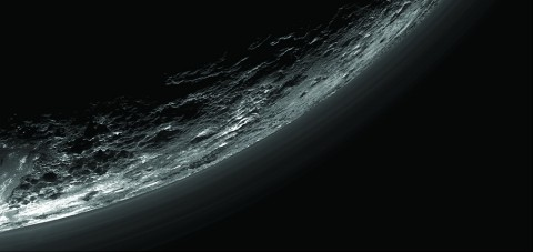 This image of haze layers above Pluto's limb was taken by the Ralph/Multispectral Visible Imaging Camera (MVIC) on NASA's New Horizons spacecraft. About 20 haze layers are seen; the layers have been found to typically extend horizontally over hundreds of kilometers, but are not strictly parallel to the surface. For example, scientists note a haze layer about 3 miles (5 kilometers) above the surface (lower left area of the image), which descends to the surface at the right. (NASA/JHUAPL/SwRI/Gladstone et al./Science (2016))