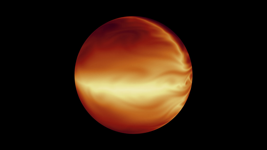 The turbulent atmosphere of a hot, gaseous planet known as HD 80606b is shown in this simulation based on data from NASA's Spitzer Space Telescope. (NASA/JPL-Caltech)