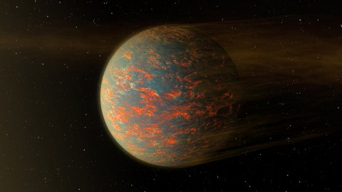This illustration shows one possible scenario for the hot, rocky exoplanet called 55 Cancri e, which is nearly two times as wide as Earth. (NASA/JPL-Caltech)