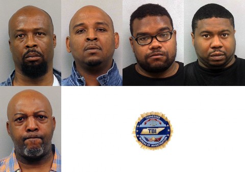 (Top L to R) John Gooch, Joshua Dyer, James Burgess, Mykel Huff, and Andrew Williams arrested by TBI in Multi-Agency Drug Investigation today.