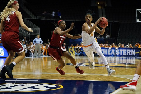 Tennessee Womens Basketball's #11 Diamond DeShields nets 15 points in SEC Tournament win over Arkansas Razorbacks Thursday. (Donald Page/Tennessee Athletics)