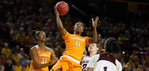 Tennessee Women's Basketball's #11 Diamond DeShields scores 24, Lady Vols shoot 52 percent in the NCAA Tournament Second Round victory. (Donald Page/Tennessee Athletics)