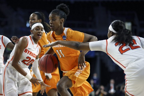 #11 Diamond DeShields of the Tennessee Lady Volunteers during the Elite Eight game in the NCAA tournament between the Syracuse Orange and the Tennessee Lady Volunteers in Sioux Falls, SD. (Donald Page/Tennessee Athletics)