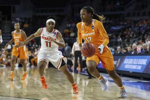 #12 Bashaara Graves of the Tennessee Lady Volunteers during the Elite Eight game in the NCAA tournament between the Syracuse Orange and the Tennessee Lady Volunteers in Sioux Falls, SD. (Donald Page/Tennessee Athletics)