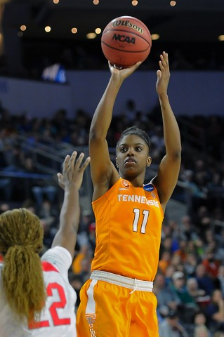Tennessee Lady Volunteers guard Diamond DeShields (11) attempts a shot over Ohio State Buckeyes forward Alexa Hart (22) in the first half of the semifinals of the Sioux Falls regional of the women's NCAA Tournament at Denny Sanford PREMIER Center. (Steven Branscombe-USA TODAY Sports)