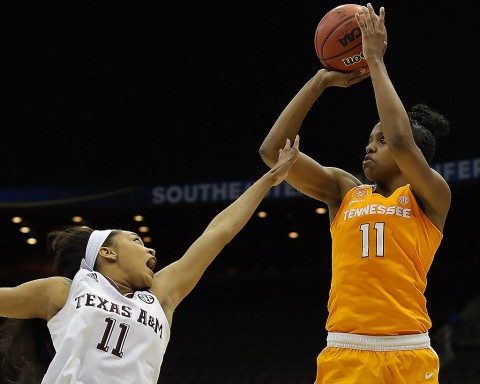 Tennessee Lady Volunteers guard Diamond DeShields (11) takes a shot in the second quarter as Texas A&M Aggies guard Curtyce Knox (11) defends during the women's SEC basketball tournament at Jacksonville Memorial Veterans Arena. (Logan Bowles-USA TODAY Sports)