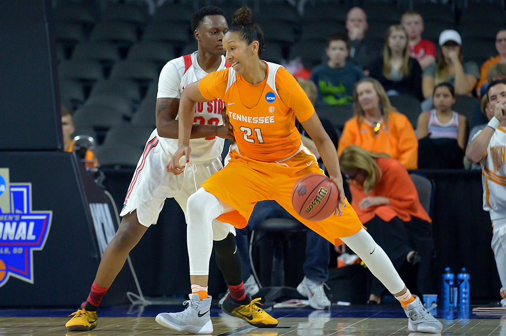Tennessee Lady Volunteers center Mercedes Russell (21) drives on Ohio State Buckeyes forward Shayla Cooper (32) in the second half of the semifinals of the Sioux Falls regional of the women's NCAA Tournament at Denny Sanford PREMIER Center. Tennessee defeated Ohio State 78-62. (Steven Branscombe-USA TODAY Sports)