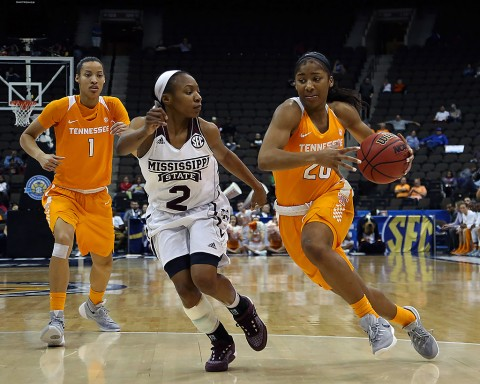 Tennessee Lady Volunteers guard Te'a Cooper (20) dribbles the ball as Mississippi State Lady Bulldogs guard Morgan William (2) defends in the first quarter during the women's SEC basketball tournament at Jacksonville Memorial Veterans Arena. (Logan Bowles-USA TODAY Sports)