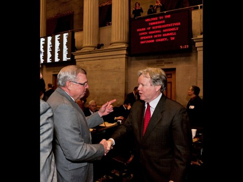 Tennessee Representative Curtis Johnson congratulates newly confirmed Supreme Court Justice, Roger Page on his unanimous confirmation by the Tennessee General Assembly.