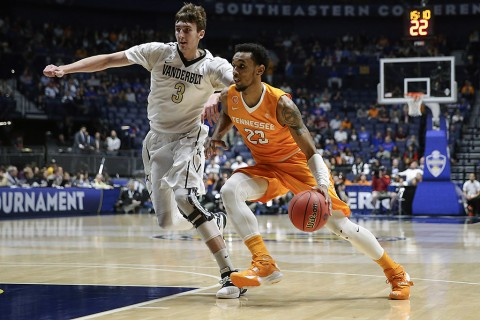 Guard Derek Reese #23 of the Tennessee Volunteers during the SEC Basketball Tournament game between the Vanderbilt Commodores and the Tennessee Volunteers at Bridgestone Arena in Nashville, TN. (Craig Bisacre/Tennessee Athletics)