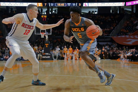 Tennessee Volunteers forward Admiral Schofield (5) moves the ball against Mississippi Rebels forward Tomasz Gielo (12) during the first half at Thompson-Boling Arena. (Randy Sartin-USA TODAY Sports)