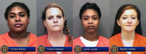 Clarksville Police arrest Tylisha Bailey, Tracie Campos, Lovlie Jones and Rachel Holder during Prostitution Operation.