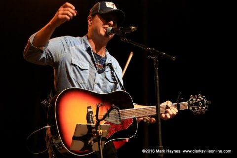 Corey Farlow performing on the Public Square Stage Thursday night at the Rivers and Spires Festival.