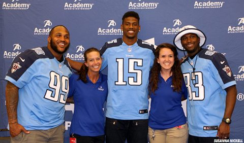 Tennessee Titans' Jurrell Casey, Justin Hunter, and Harry Douglas with Academy Sports + Outdoors representatives at Titans Caravan schedule announcement. (Tennessee Titans)