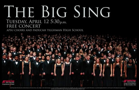 """Austin Peay State University Choirs and Paducah Tilghman High School join for third annual """"The Big Sing"""" on April 12th."""