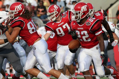 Austin Peay football running backs are averaging 4.8 yards per rush through the first two scrimmages.