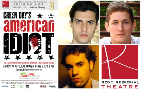 "Roxy Regional Theatre's ""American Idiot"" stars (Top L to R) Joseph Spinelli, Charles Robinson and Ryan Alvarado."
