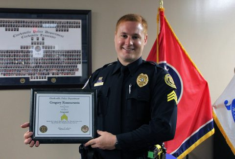 Sergeant Gregory Rosencrants with his Certificate