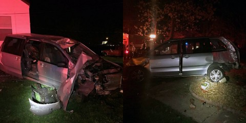 A van left the road and hit a mailbox, utility pole and then a house on Old Russellville Pike Tuesday night.